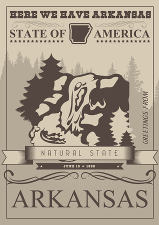 state: Arkansas american vector poster. USA banner. United States of America theme Illustration