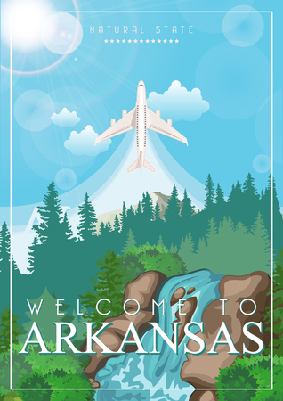 Arkansas american vector poster. USA banner. United States of America theme Illustration