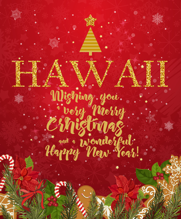 hawaii merry christmas and a happy new year greeting vector card on red background with snowflakes - Merry Christmas In Hawaii