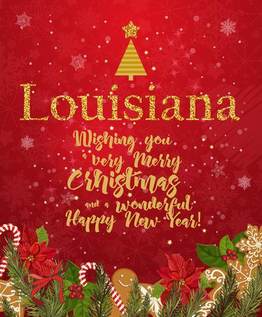 Joyeux Noël de Louisiane et une carte de voeux de bonne année sur fond rouge avec des flocons de neige.