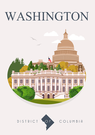 district of columbia: District of Columbia vector american poster. USA travel illustration. United States of America colorful greeting card. Washington DC
