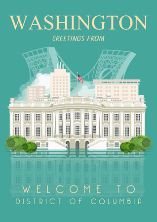 columbia: District of Columbia vector american poster. USA travel illustration. United States of America colorful greeting card. Washington DC