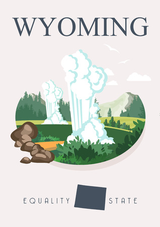 wyoming: Wyoming vector american poster. USA travel illustration. United States of America colorful greeting card.