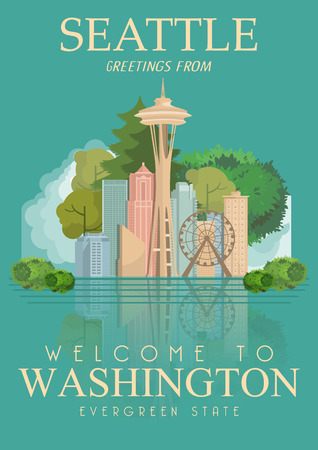 seattle: Washington vector american poster. USA travel illustration. United States of America colorful greeting card, Seattle.