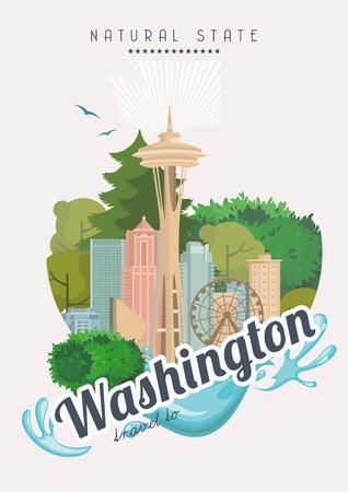 ワシントン ベクトルのアメリカのポスター。アメリカ旅行のイラスト。アメリカ合衆国のカラフルなグリーティング カード、シアトル。
