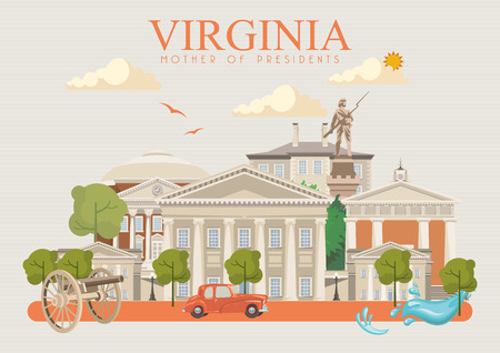 Virginia vector american poster. USA travel illustration. United States of America colorful greeting card.