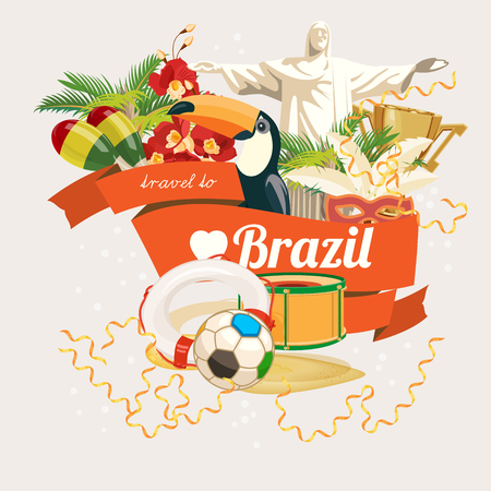 brasilia: Vector travel poster of Brazil with colorful modern design, brazilian landscape and monuments. Rio de Janeiro advertising card with statue of Jesus. Carnival of Samba. Brazilian football symbols