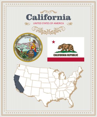 High detailed vector set with flag, coat of arms, map of California. American poster. Greeting card from United States of America.