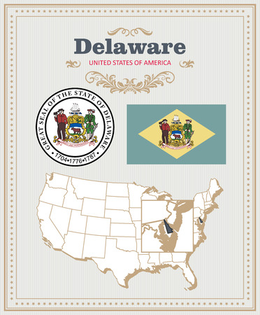 High detailed vector set with flag, coat of arms, map of Delaware. American poster. Greeting card from United States of America.