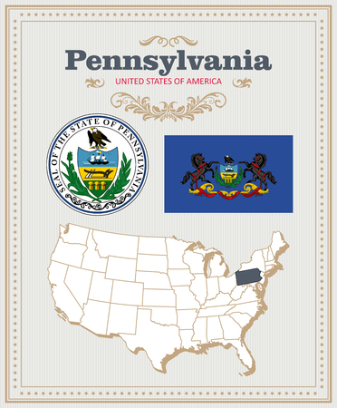 High detailed vector set with flag, coat of arms, map of Pennsylvania. American poster. Greeting card from United States of America.