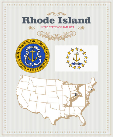 High detailed vector set with flag, coat of arms, map of Rhode Island. American poster. Greeting card from United States of America.