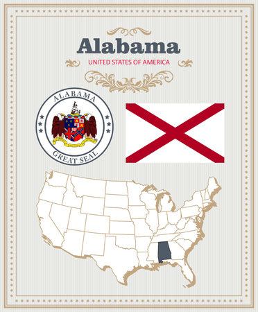 High detailed vector set with flag, coat of arms, map of Alabama. American poster. Greeting card from United States of America.