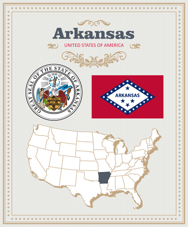 High detailed vector set with flag, coat of arms, map of Arkansas. American poster. Greeting card from United States of America.