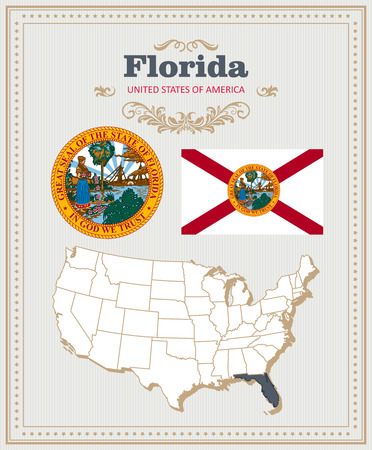High detailed vector set with flag, coat of arms, map of Florida. American poster. Greeting card from United States of America.