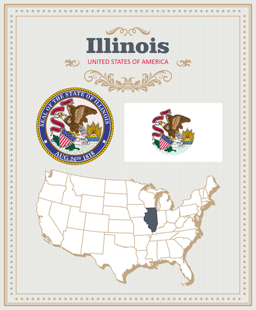 High detailed vector set with flag, coat of arms, map of Illinois. American poster. Greeting card from United States of America.