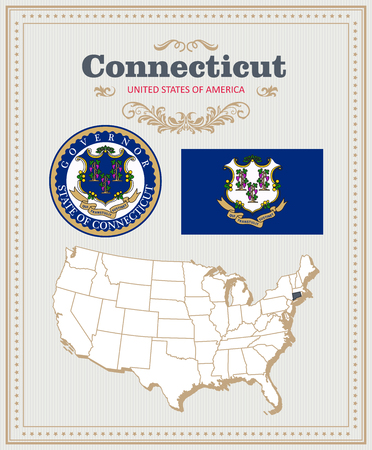High detailed vector set with flag, coat of arms, map of Connecticut. American poster. Greeting card from United States of America.