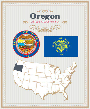 High detailed colorful vector set with flag, coat of arms, map of Oregon. American poster. Greeting card from United States of America. Illustration