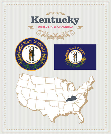 High detailed vector set with flag, coat of arms, map of Kentucky. American poster. Greeting card from United States of America. Illustration