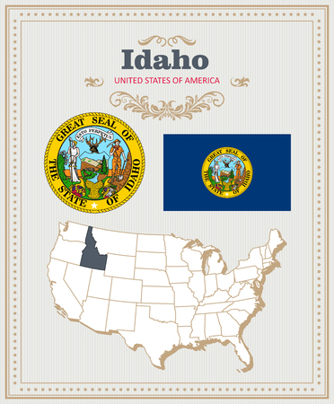High detailed vector set with flag, coat of arms, map of Idaho. American poster. Greeting card from United States of America. 向量圖像