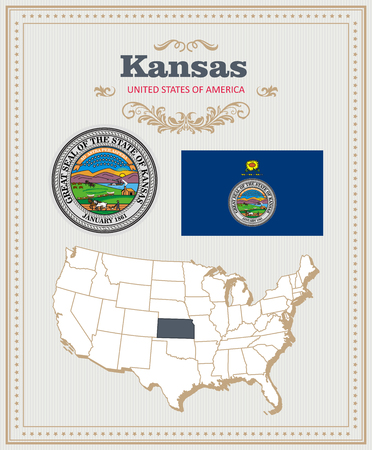 High detailed vector set with flag, coat of arms, map of Kansas. American poster. Greeting card from United States of America. Illustration