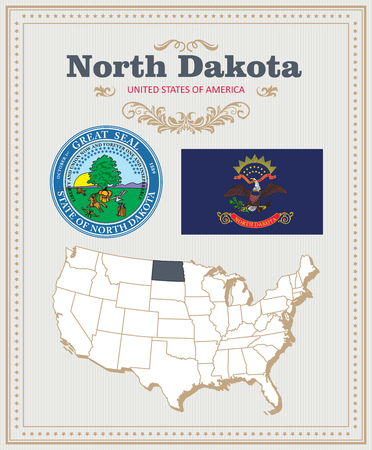 High detailed vector set with flag, coat of arms, map of North Dakota. American poster. Greeting card from United States of America. Illustration