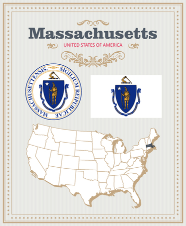 High detailed vector set with flag, coat of arms, map of Massachusetts. American poster. Greeting card from United States of America. Illustration