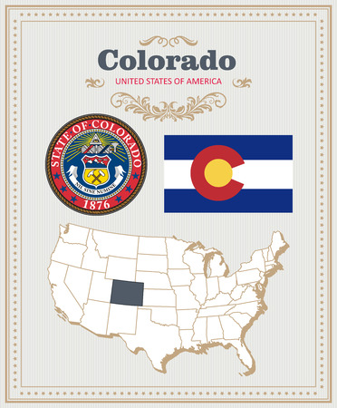 High detailed vector set with flag, coat of arms, map of Colorado. American poster. Greeting card from United States of America. Illustration
