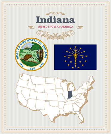 High detailed vector set with flag, coat of arms, map of Indiana. American poster. Greeting card from United States of America.