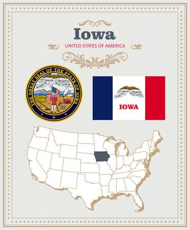 High detailed vector set with flag, coat of arms, map of Iowa. American poster. Greeting card from United States of America.