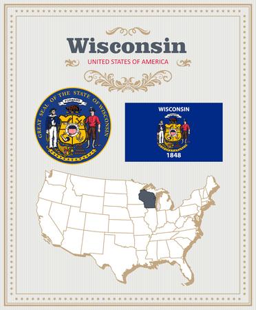 高詳細なベクトルの旗、紋章付き外衣、ウィスコンシン州のマップを設定します。アメリカのポスター。アメリカ合衆国からのグリーティング カー