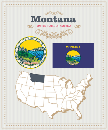 High detailed vector set with flag, coat of arms, map of Montana. American poster. Greeting card from United States of America. Иллюстрация