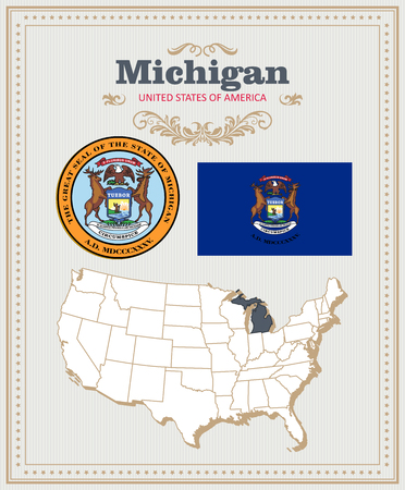 High detailed vector set with flag, coat of arms, map of Michigan. American poster. Greeting card from United States of America.