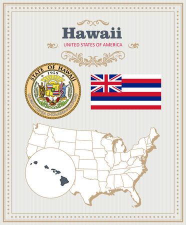 High detailed vector set with flag, coat of arms, map of Hawaii. American poster. Greeting card from United States of America. Illustration