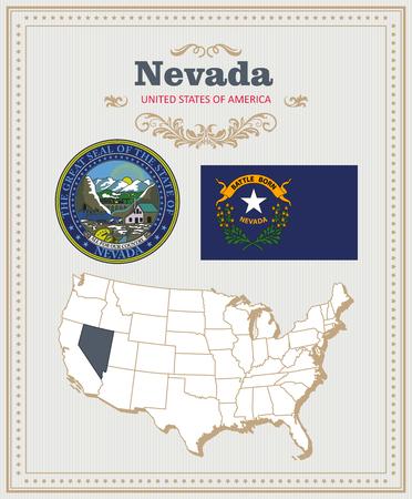 高詳細なベクトルの旗、紋章付き外衣、ネバダ州のマップを設定します。アメリカのポスター。アメリカ合衆国からのグリーティング カード。  イラスト・ベクター素材