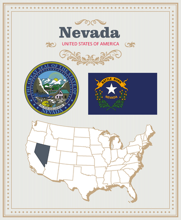 High detailed vector set with flag, coat of arms, map of Nevada. American poster. Greeting card from United States of America. Illustration