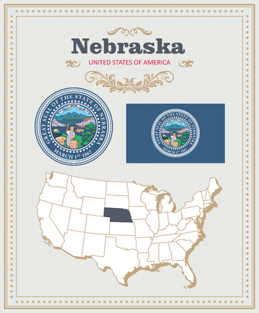 High detailed vector set with flag, coat of arms, map of Nebraska. American poster. Greeting card from United States of America.