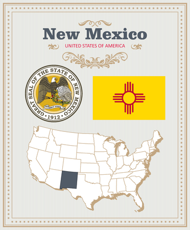High detailed vector set with flag, coat of arms, map of New Mexico. American poster. Greeting card from United States of America.