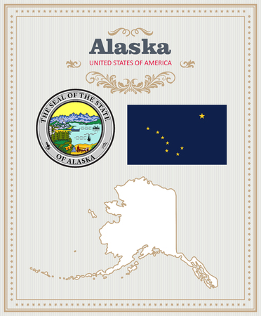High detailed vector set with flag, coat of arms, map of Alaska. American poster. Greeting card from United States of America.