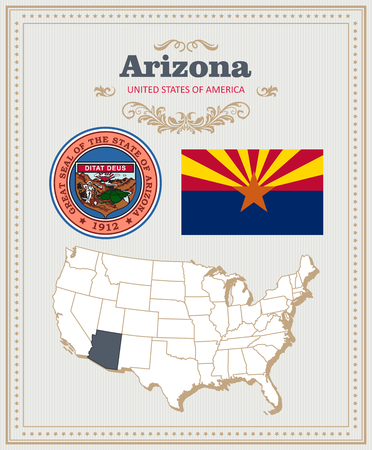 High detailed vector set with flag, coat of arms, map of Arizona. American poster. Greeting card from United States of America. Illustration