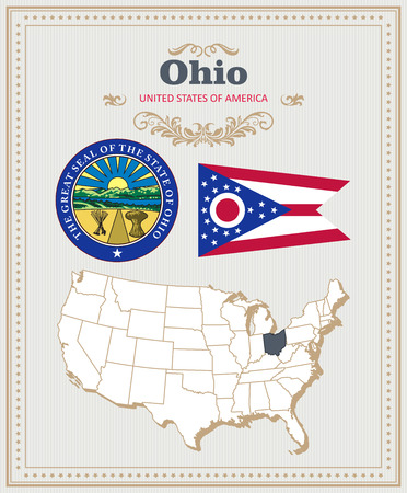High detailed vector set with flag, coat of arms, map of Ohio. American poster. Greeting card from United States of America.