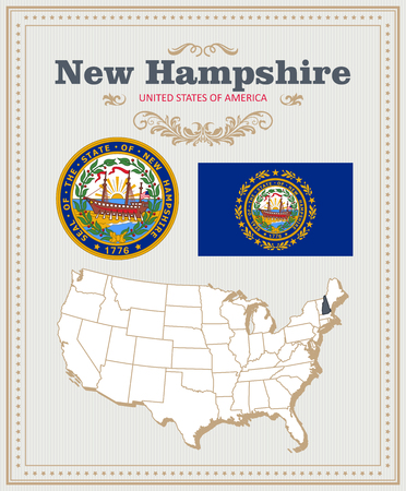 High detailed vector set with flag, coat of arms, map of New Hampshire. American poster. Greeting card from United States of America.