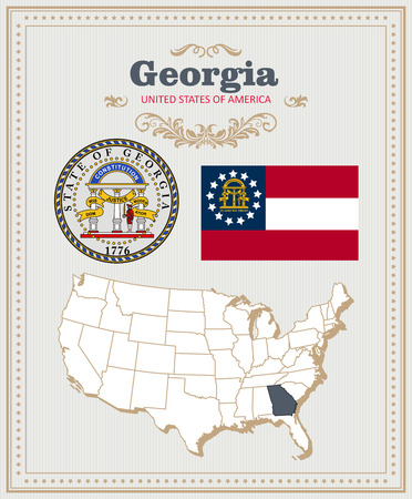 High detailed vector set with flag, coat of arms, map of Georgia. American poster. Greeting card from United States of America.