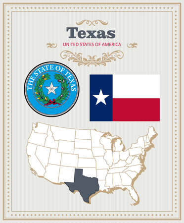 High detailed set with flag, coat of arms, map of Texas. American poster. Greeting card from United States of America.