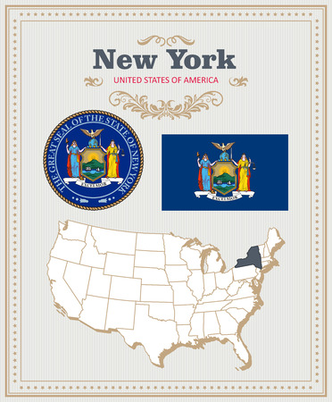 High detailed set with flag, coat of arms, map of New York. American poster. Greeting card from United States of America.