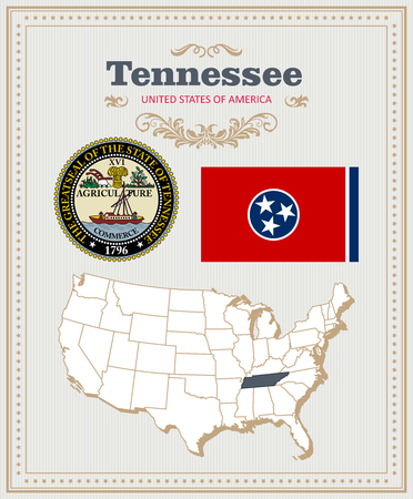 High detailed set with flag, coat of arms, map of Tennessee. American poster. Greeting card from United States of America. Illustration