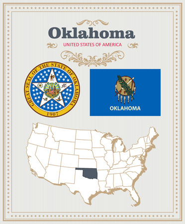 High detailed vector set with flag, coat of arms, map of Oklahoma. American poster. Greeting card from United States of America.