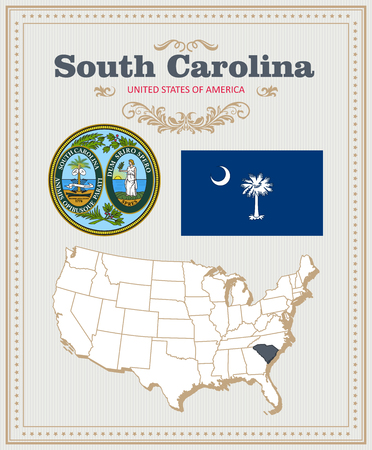High detailed vector set with flag, coat of arms, map of South Carolina. American poster. Greeting card from United States of America. Illustration