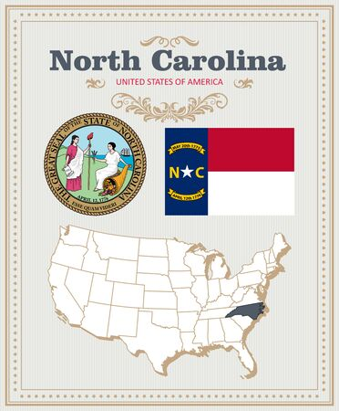 High detailed vector set with flag, coat of arms North Carolina. American poster. Greeting card 向量圖像