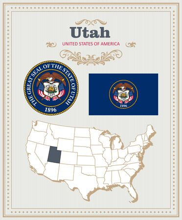 High detailed vector set with flag, coat of arms, map of Utah. American poster. Greeting card from United States of America.
