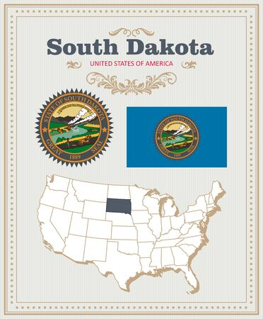 High detailed vector set with flag, coat of arms South Dakota. American poster. Greeting card